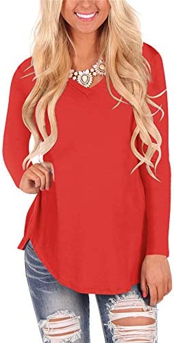 WFTBDREAM Womens Casual Curved Hem Long Sleeve T Shirt V Neck Side Slit Blouse