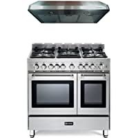 2-Piece Stainless Steel Kitchen Package with VEFSGG365NDSS 36 Freestanding Gas Range and VEHOOD3610 36 Under Cabinet Range Hood