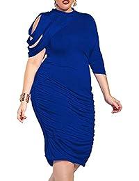 8f881e2622 Womens Stylish Bodycon Pleated Plus Size One Shoulder Irregular Party Midi  Dress