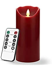7 Inch Flameless LED Candle - Real Wax & Real Flickering Candle Motion - with Remote 24-hour Timer Function ,Burgundy color