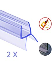Oladwolf Shower Door Seal, 2PCS Straight Curved Shower Screen Seal Strip 6mm / 7mm / 8mm, Unique 100cm Glass Shower Door Bottom Seal for Bathroom