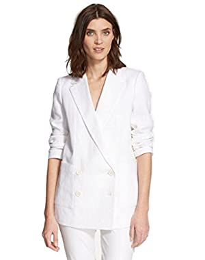 Theory 'Chivan' White Linen Oversize Double-Breasted Blazer - Size Small