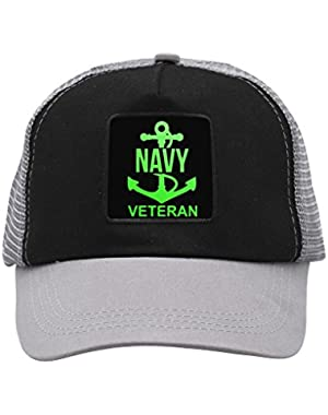Unisex US Navy Veteran Anchor Logo Trucker Hat Adjustable Mesh Cap