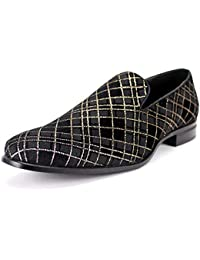 8102 Smoking Slipper Mens Plaid Fabric Loafer
