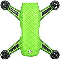 Shaluoman PVC Carbon Fiber Green Graphic Decals Stickers Waterproof Skin for Spark