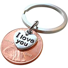 I Love You Heart Charm Layered Over 2001 US One Cent Penny Keychain, 17 Year Anniversary