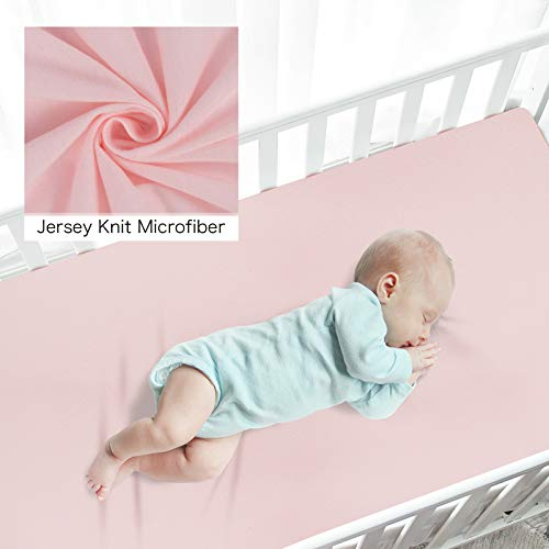 TILLYOU Jersey Knit Pack N Play Sheets Fitted, Portable/Mini-Crib Sheets Set for Girls Boys, Ultra-Soft Breathable Playard Playpen Sheets, 2 Pack Peachy Pink & Lt Gray