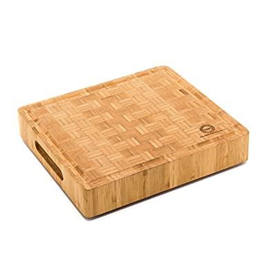 End Grain Bamboo Cutting Board | Professional, Antibacterial Butcher Block | Non-Slip Rubber Feet