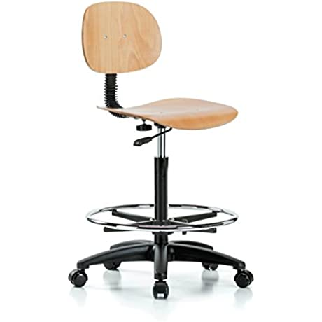 Perch Wood Rolling Pneumatic Chair With Footring Adjustable Back And Seat For Kitchen Workshop Garage Office Hard Floor Casters 22 32