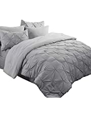 Bedsure Bed in a Bag Queen Size Grey 8 Pieces 88x88 - Pintuck Bedding Sets Pinch Pleat Comforter Set for Queen Bed