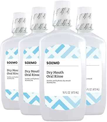 Amazon Brand - Solimo Alcohol-free Dry Mouth Mouthwash, Mint Oral Rinse, 16 Fluid Ounce (Pack of 4)