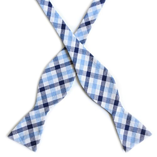 100% Premium Cotton Handmade Mens Plaid Stripe Self Tie Bow Tie – Various Colors (Light Blue / Navy Blue)