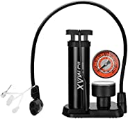 Bike Pump, IDMAX Portable Mini Bicycle Tire Pump Foot Activated Pump Tyre Inflator with Pressure Gauge Inflati