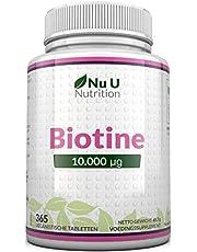 Biotine Haargroeisupplement | 365 Tabletten (Volledige Jaarvoorraad) | Biotine 10.000 Microgram van Nu U Nutrition
