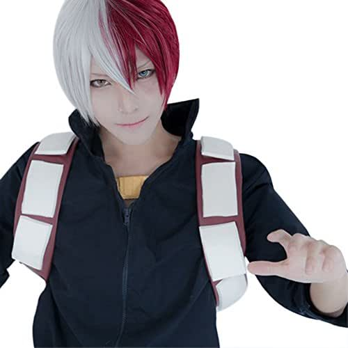 ROLECOS Shoto Todoroki Cosplay Wigs Short Straight Ful Hair Anime Wig Silver Grey Fade Red ZY269