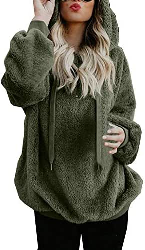 Women's Casual Long Sleeve Solid Color Pullover Hooded Sweatshirt Coat Tops Winter Warm Zipper Pockets Outwear