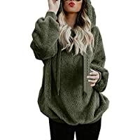 Liraly Pullovers For Women Plus Size Ladies Warm Fluffy Winter Top Hoodie Sweatshirt Hooded Pullover Jumper