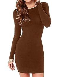 Women s Sexy Casual Long Sleeve Short Dress Mini Dress 8cc64f7e7221