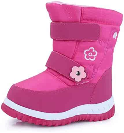 CIOR Fantiny Toddler Winter Snow Boots for Boy and Girl Outdoor Waterproof with Fur Lined Little Kids U118WXZ012,Pink,24