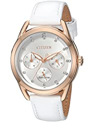Citizen Womens Drive Quartz Stainless Steel and Leather Casual Watch, Color:White (Model: FD2053-04A)