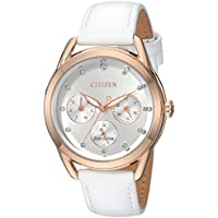 Citizen Women's 'Drive' Quartz Stainless Steel and Leather Casual Watch, Color White (Model: FD2053-04A)