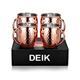 Deik Moscow Mule Mugs Set Moscow Mule Hammered Copper 16 oz Drinking Mug Cold Drink Rose Gold Cup with Brass Handles,Set of 4 Rose Gold
