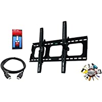 EASY MOUNT -Ultra Slim Tilt TV Wall Mount Bracket + High Speed HDMI Cable for LG Electronics 49UH6100 49-Inch 4K Ultra HD Smart LED TV - Low Profile 1.7 fom Wall - 12° Tilt Angle - Reduced Glare!