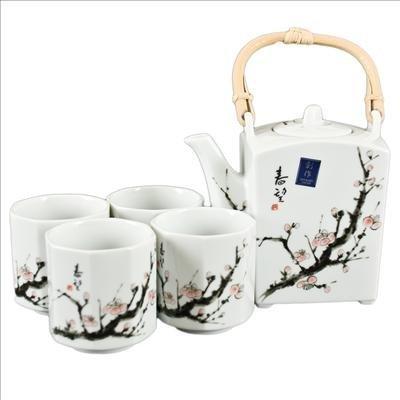 Happy Sales Japanese Cherry Blossom Tree Tea Set (1 pot & 4 cups)