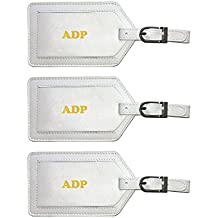 Personalized Monogrammed Leather Luggage Tags - 3 Pack