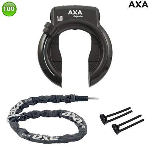 AXA Defender Art Rahmenschloss mit Axa Kette RLC100 + Axa-Flex, Pletscherplatte
