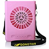 CestMall 3 Speeds Portable Multi-functional Mini Rechargeable Fan Powered by 18650 Li-ion Battery (included) & USB Charging for Outdoor Travel with String (Pink)