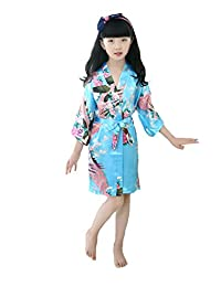 Luxurysmart Peacock Silk Kimono Robe Bridesmaid Robes/Wedding Robe/Nightgown for Girls