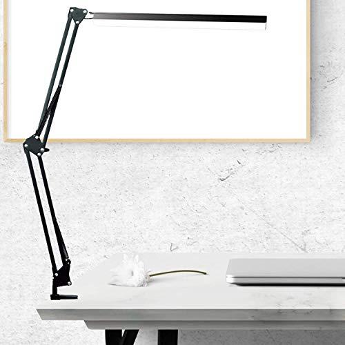 Lampara de Escritorio LED, BZBRLZ 360 ° Lampara de Brazo Oscilante de Aluminio, Brillo Infinito Ajustable, 3 Modos de Color, Operacion con un Solo Boton, mas de 60000 h de vida util(Negro)