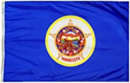 Minnesota State Flag 3x5 ft. Nylon SolarGuard NYL-Glo 100% Made in USA to Official State Design Specifications