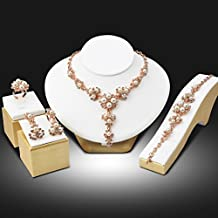 My Us-DeSiGn_CA: Trendy Nigerian Wedding African Beads Jewelry Set Simulated Pearl Pendant Necklace Earrings Bracelet Ring 4PCs Set parure bijoux