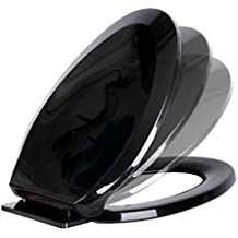 Black Plastic Toilet Seat Elongated Easy Close Comfortable Ergono