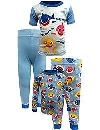 Sleepwear Boys' Baby Shark 4 Piece Blue Cotton Toddler Pajamas