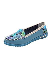 Tenworld Women Driving Flat Boat Shoes Comfort Slip On Loafers