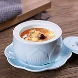 RXY-BOWL Ceramic Bird's Nest Stew with Lid, Dessert Soup Bowl, Soup Pot Stew Pot (Color : Blue, Size : 13.9X8.8CM)
