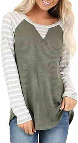Bloomn Women's Stripe Print Color Block Tunic Round Neck Long Sleeve Sweatshirt Shirts Striped Causal Blouses Tops