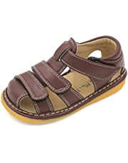 Little MAE'S Toddler Boy Sandals | Brown, Black or Navy Blue Closed Toe Adjustable Strap Squeaky Sandals | Premium Quality (Removable Squeakers)
