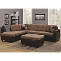 Mallory 505675 107.5 Reversible Sectional with Accent Pillows Included Leatherette Base Upholstery Kiln Dried Hardwood Frames and Microfiber Upholstery in Tan Color