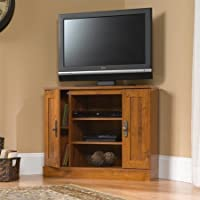 Corner Flat Screen TV Stand Wood Entertainment Center Oak Wooden Media Cabinet Console Furniture Home Storage Vintage Living Room NEW
