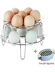 2-Pack Egg Steamer Basket Rack Trivet, Stainless Steel Egg Cooker Rack, Multipurpose Vegetable Steamer Rack Stand for Instant Pot and Pressure Cooker, Egg Slicer Free (6.12.7)