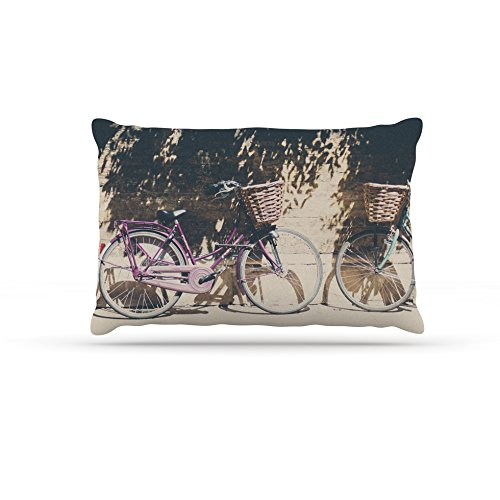 Kess InHouse Laura Evans Pretty Bicycles  Fleece Dog Bed, 50 by 60 , Brown Green