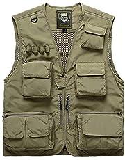 FEOYA Men Fishing Vest Multi Pockets Zipper Lightweight Plus Vest for Photography Climbing Hiking