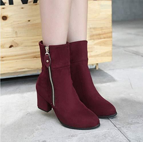 FMWLST Botas Otoño E Invierno Principios De Invierno Zapatos Zapatos Zapatos De Mujer Tacones Altos Botas Damas Tacones Cuadrados Botas, 34 2d4003