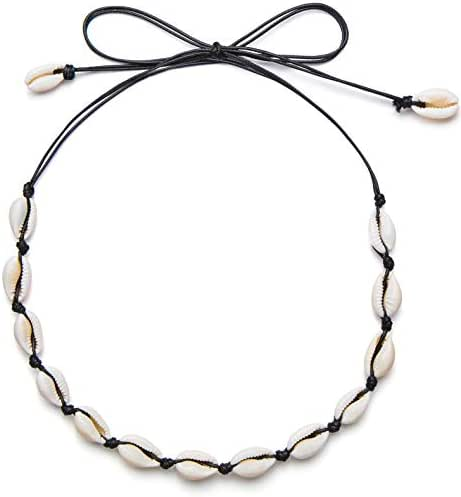 Qceasiy Women Shell Choker Necklace Summer Beach Natural White Shell Necklace(Black Rope)