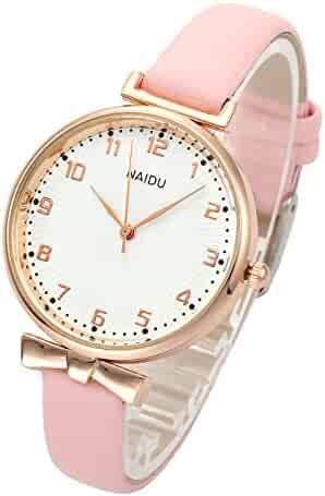 4e499c640187 Top Plaza Womens Ladies Classic Simple Leather Analog Quartz Wrist Watch  Rose Gold Case Arabic Numerals