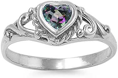 925 Sterling Silver Filigree Heart Simulated Mystic Topaz 7MM Cubic Zirconia Petite Rings